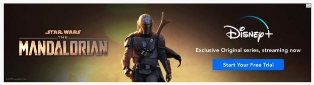 banner ad example from Disney+