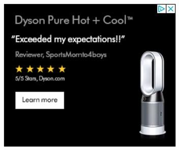 banner ad example from Dyson