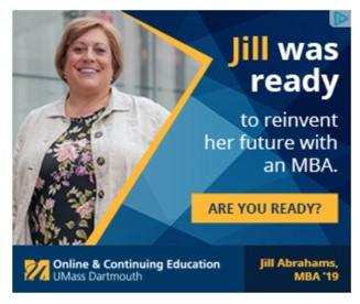 banner ad example from UMass Dartmouth