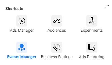 Facebook account events manager