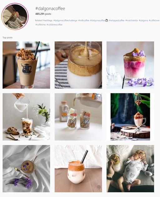 social media engagement with Dalgona coffee