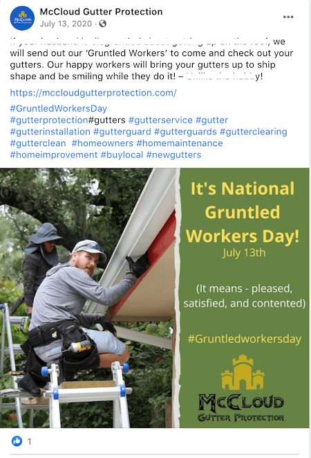 july marketing ideas gruntled workers day facebook post