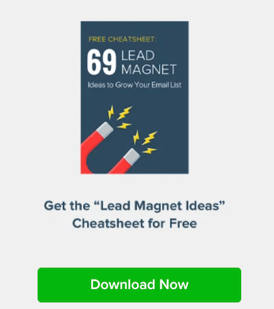 popup for a cheatsheet as a top-of funnel lead magnet idea
