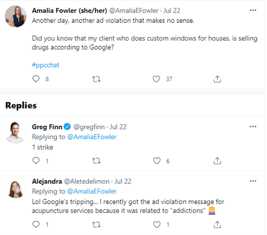 funny tweets about google ads three strikes policy program