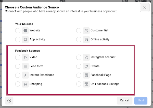 facebook ad targeting in iOS 14 and privacy first world: ads manager data source selection
