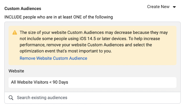 facebook ad targeting in privacy first world: notification in ads manager about audience size decrease due to iOS 14