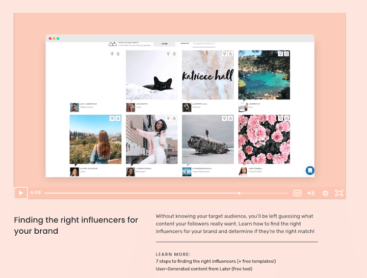 free social media marketing courses: screenshot from later's influencer marketing course