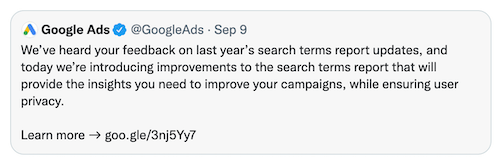 google ads tweet about search terms report september 2021