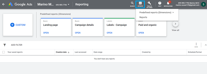 reports tab in google ads analytics
