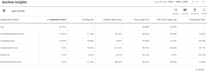 example of auction insights report google ads