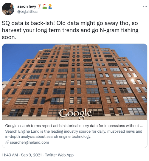 tweet about september 2021 google search terms report update