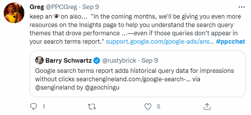 tweet about google ads insights page