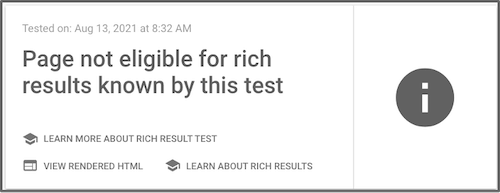 google search console saying page not eligible for rich results